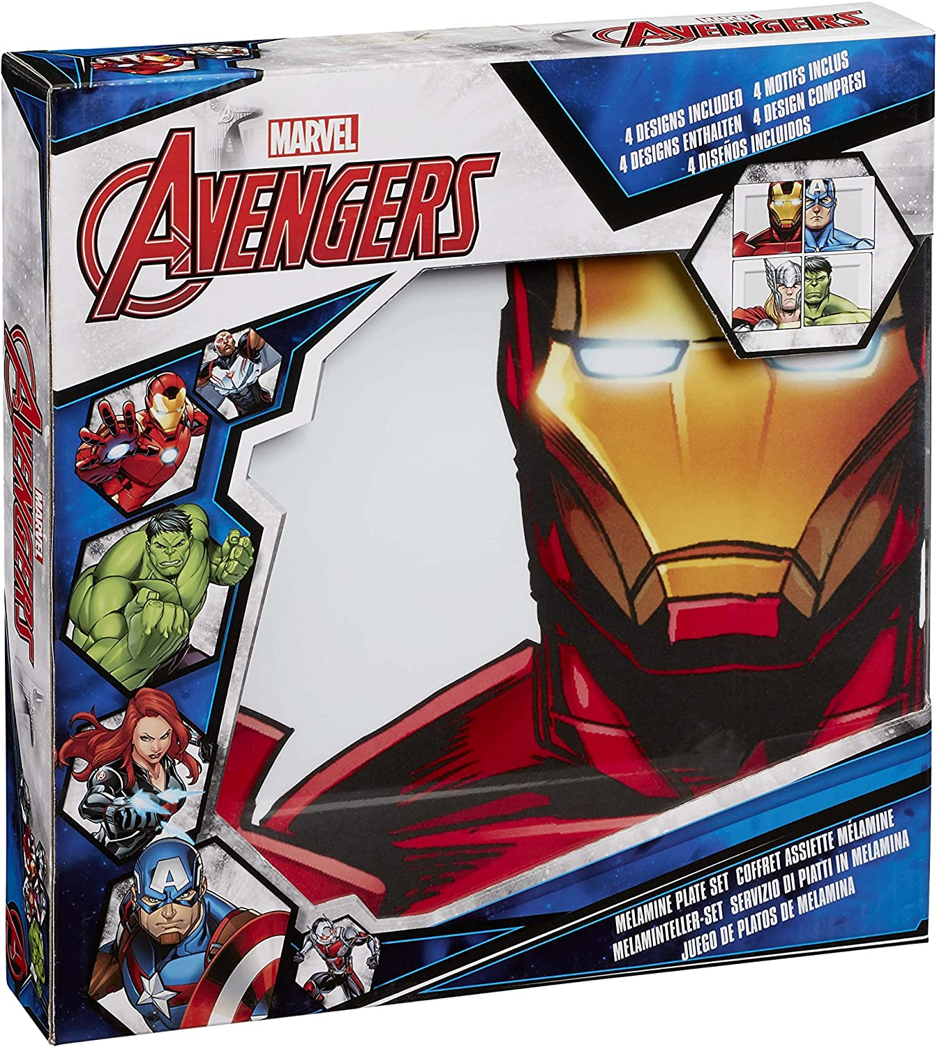 Marvel Avengers Faces/Helmets Plate Set, Multi-Colour, Set of 4