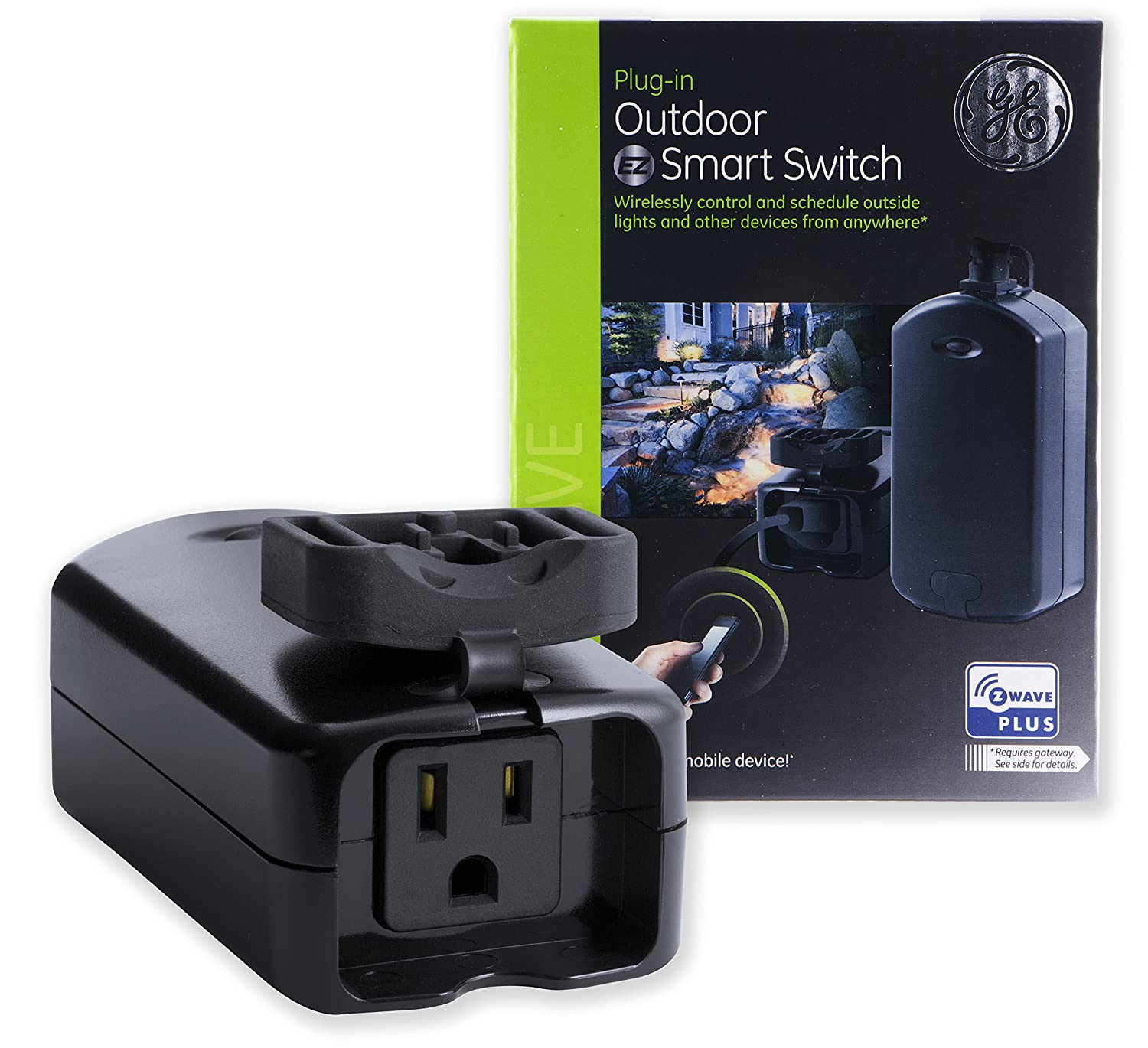 GE Enbrighten Z-Wave Plus Outdoor Smart Plug Switch, 1 On/Off Outlet, Weather-Resistant, Built-in Repeater/Range Extender, Zwave Hub Required, Works with SmartThings, Wink, Alexa, 14284, BLACK
