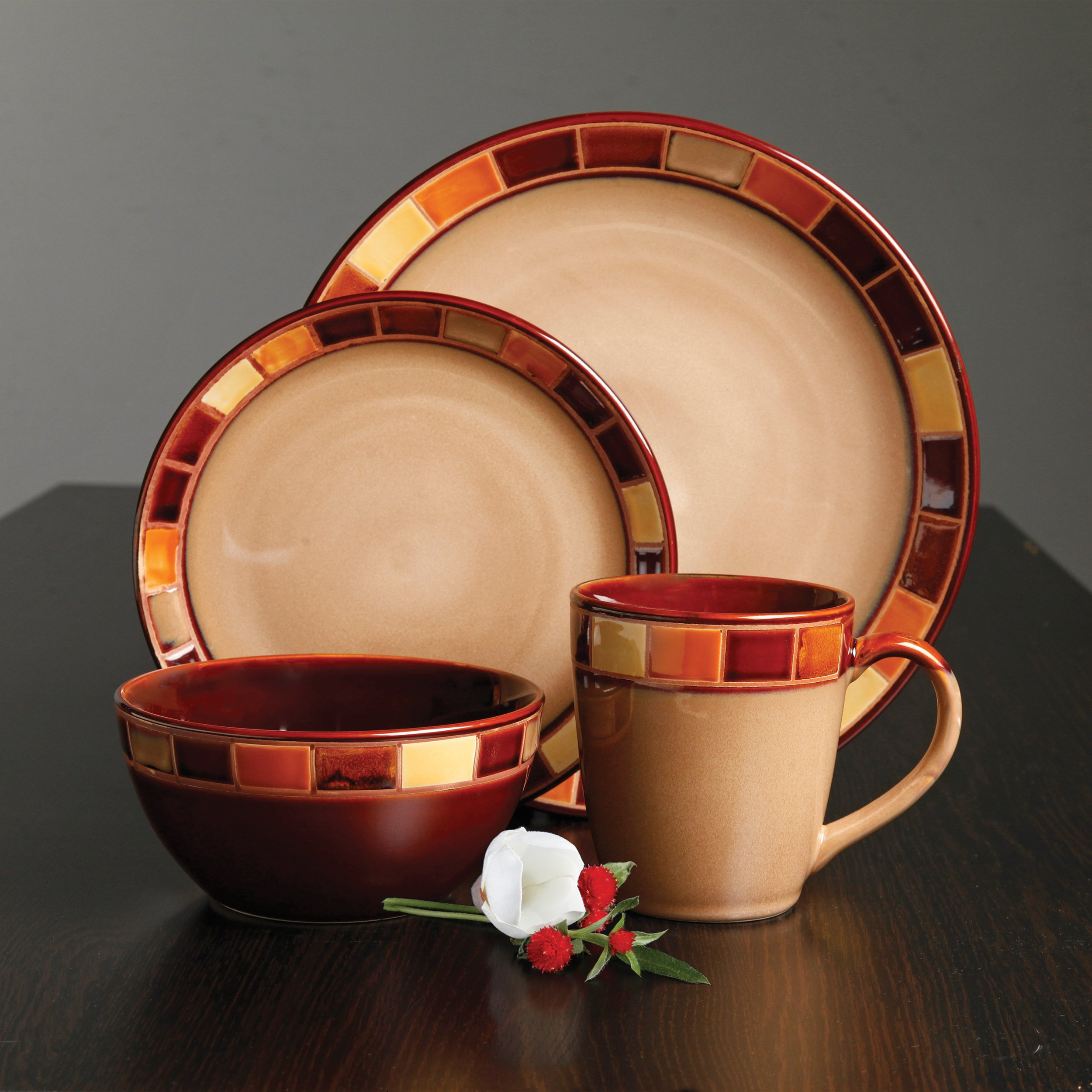 Gibson 70736.16RM Casa Estebana 16-piece Dinnerware Set Service for 4, Beige and Brown by Gibson (Image #7)