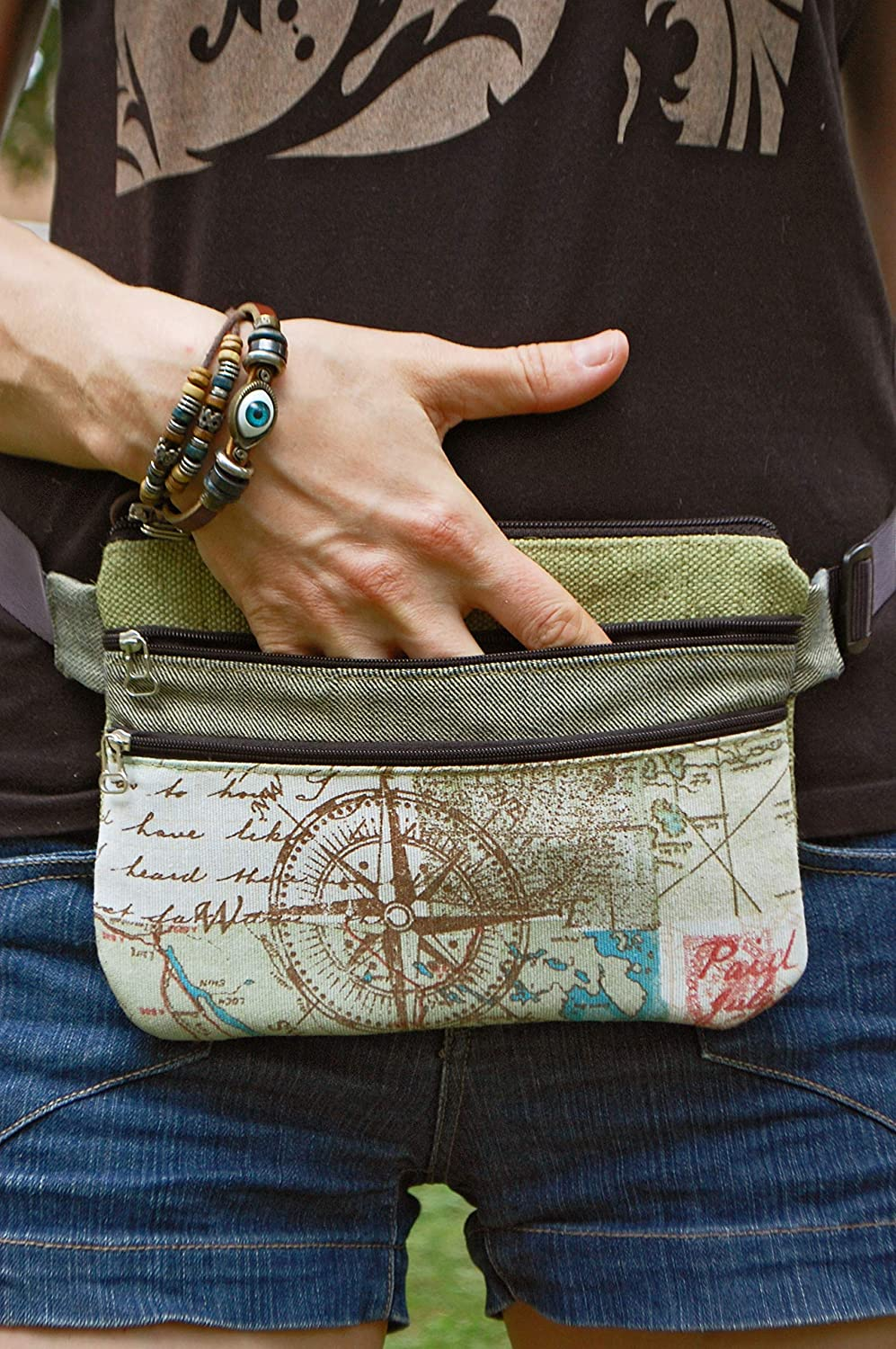 39a1fb2b0bfc Amazon.com: Unisex Fanny Pack for Cell Phone and Money, Travel Hip ...