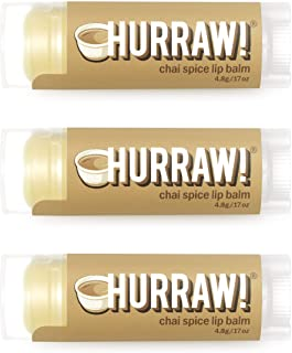 product image for Hurraw! Chai Spice Lip Balm, 3 Pack: Organic, Certified Vegan, Cruelty and Gluten Free. Non-GMO, 100% Natural Ingredients. Bee, Shea, Soy and Palm Free. Made in USA