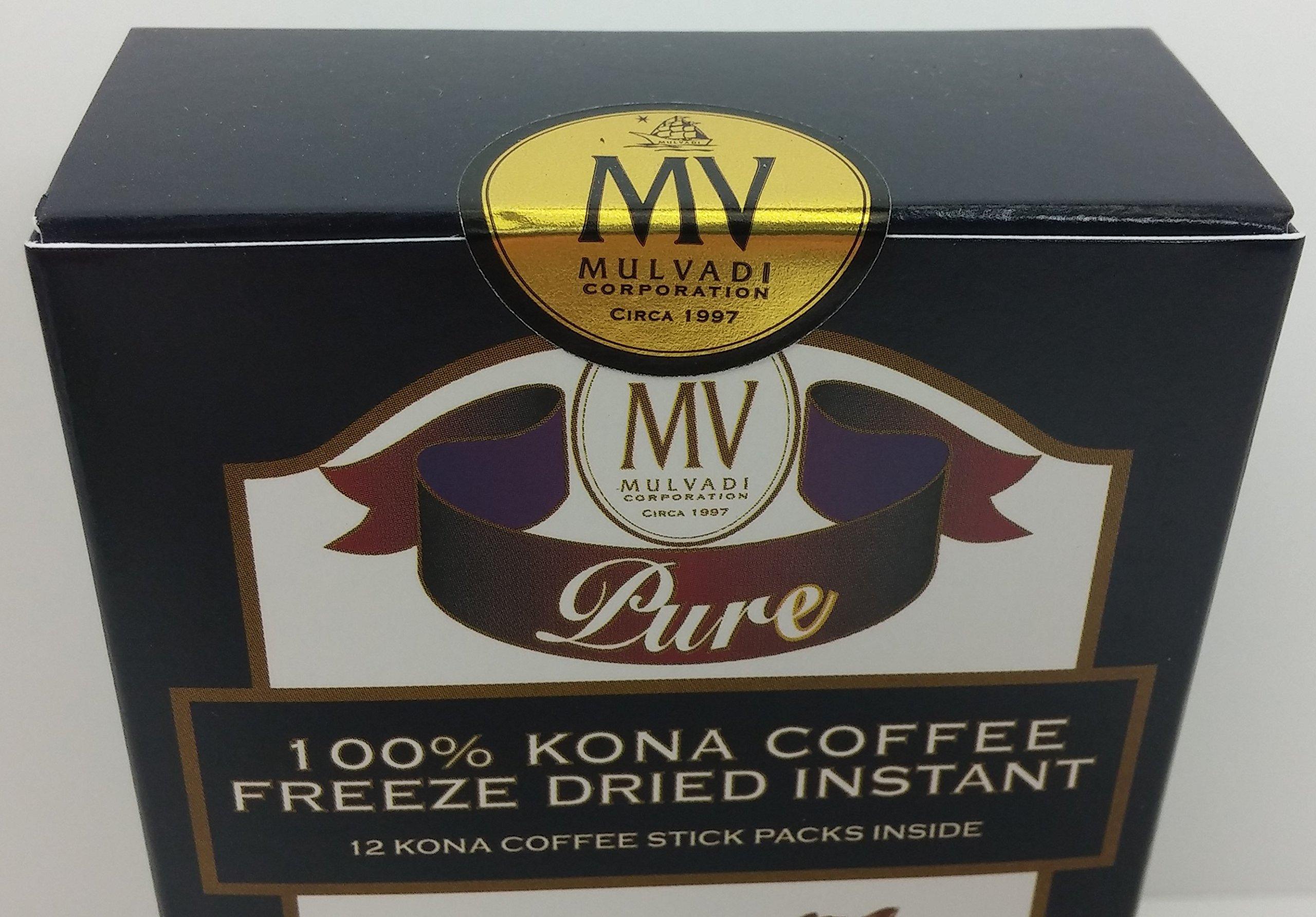 Hawaii 100% Kona Coffee Freeze Dried Instant 12 Individual 1.7g Packets