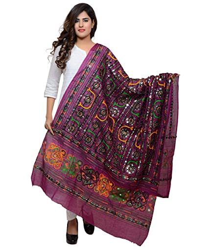 Banjara India Women's Cotton Embroidered Kutchi Dupatta Bharchak Chunnis & Dupattas at amazon