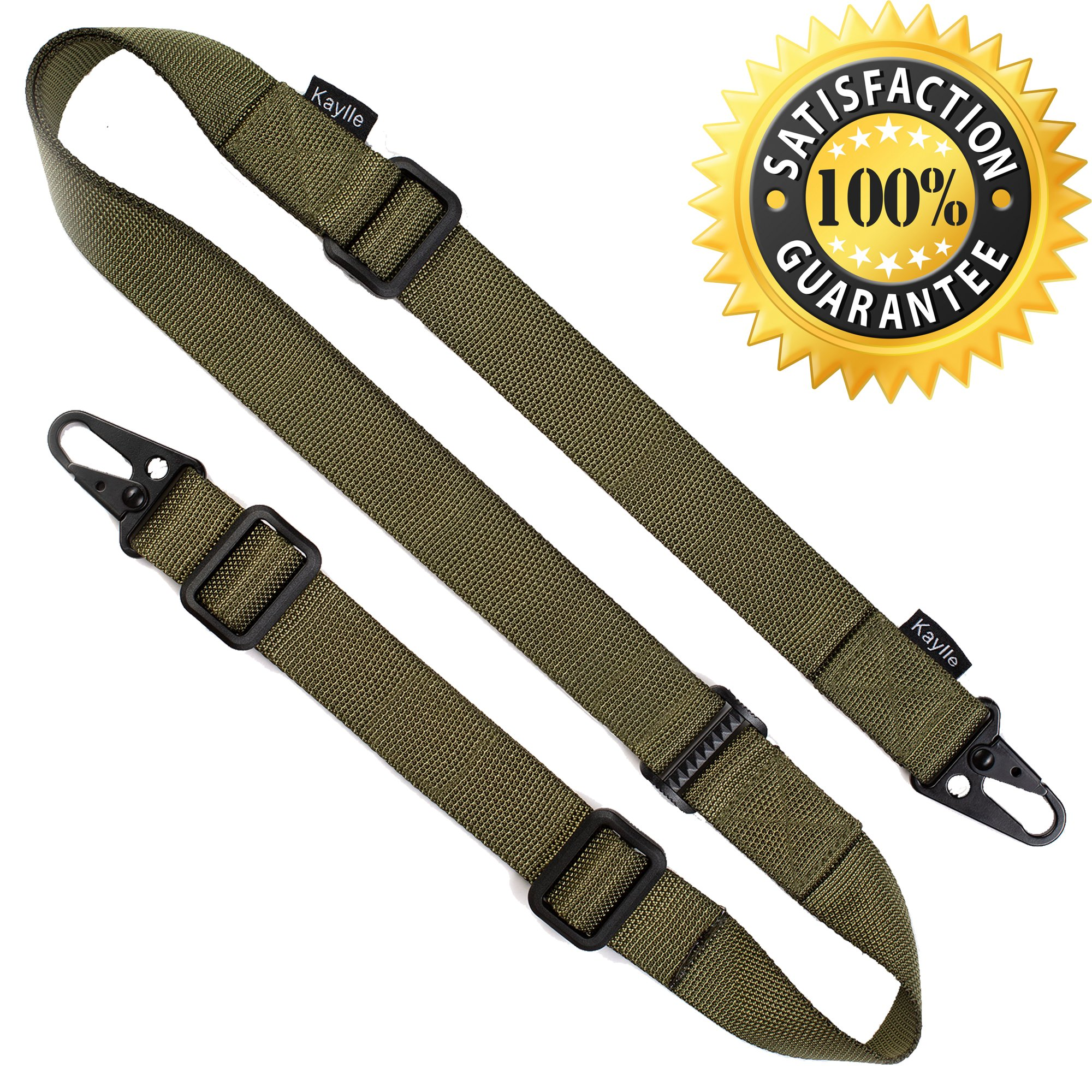 KAYLLE 2-Point Rifle Sling - Premium Shotgun Sling with Upgraded Metal Hook Fits Any Weapon - Durable & Quick Length Adjust - Multi Use for Tactical, Hunting, Sniper, Shooting (ArmyGreen)