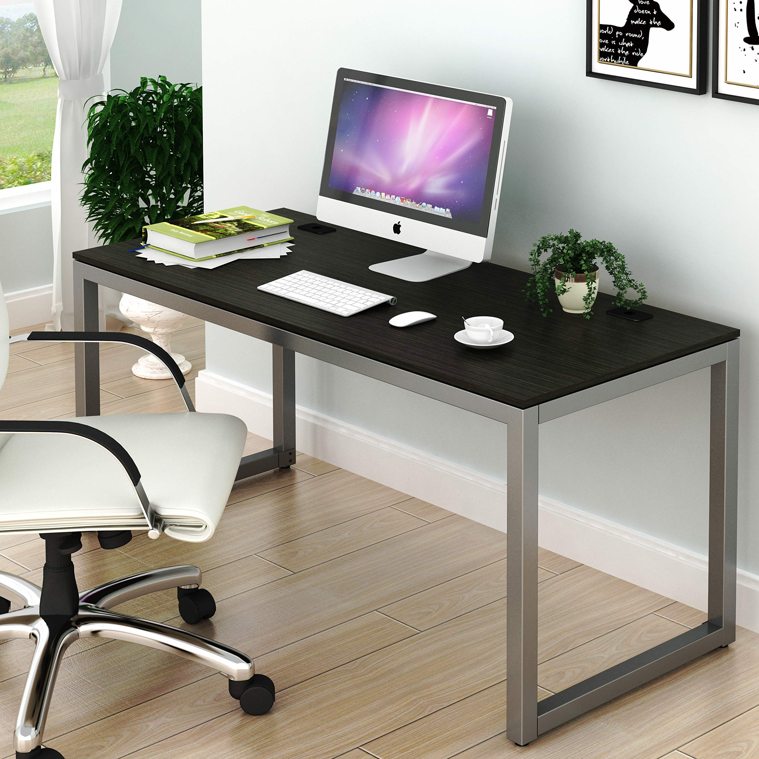 SHW Home Office 55-Inch Large Computer Desk, Espresso by SHW