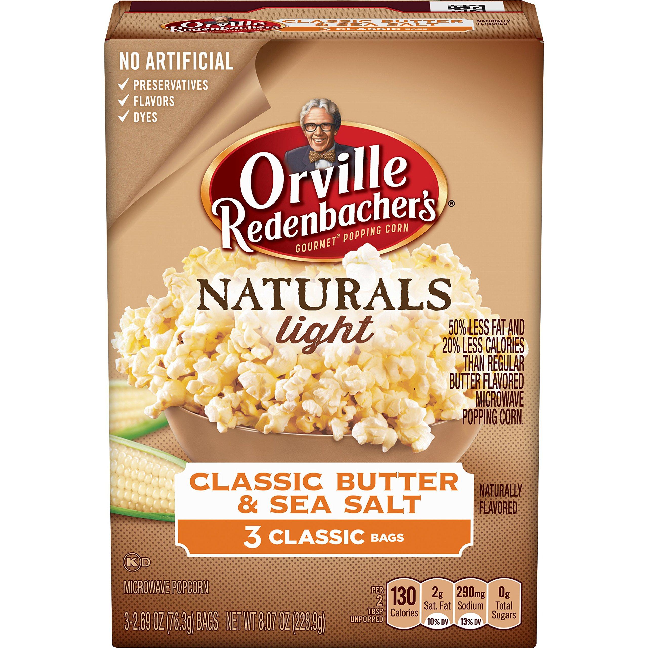 Orvile Redenbacher's Naturals Light Classic Butter & Sea Salt Popcorn, Classic Bag, 3 Count