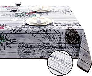 SANBOLI Rectangle Table Cloth Spill-Proof Oil-Proof Water Proof Stain Resistance Decorative Tablecloths for Home Picnic Party Holiday Decoration Table Cover (Wood Grain Grey 60x84 inch)