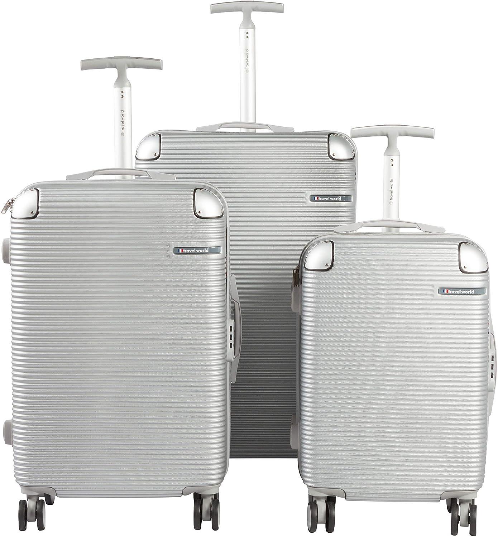 FCO Sets de 3 valises 55//65//75cm Rigides ABS /à 8 Roues 360/° Argent/é Travel World
