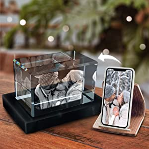 Pix Crystal - 3D Crystal Photo with Base Personalized Crystal Home Office Decor 3D Hologram Paperweight, Birthday Gifts for Women, Men, Selfie (Landscape, Medium)