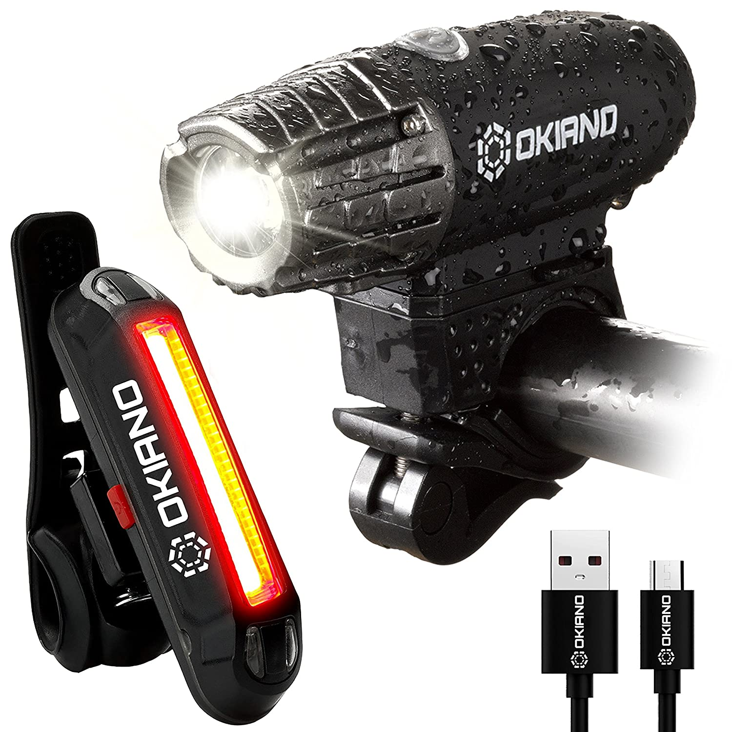 USB Rechargeable Bike Light Set- Super Bright 400 Lumens Bike Headlight 120 Lumens, LED High Brightness Bike TAIL LIGHT. Easy Installation WATER-RESISTANT LED Bike Lights For Safe Cycling At Night