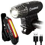 USB Rechargeable Bike Light Set- Super Bright 400 Lumens Bike Headlight +120 Lumens, LED High Brightness Bike TAIL LIGHT. Easy Installation & WATER-RESISTANT LED Bike Lights For Safe Cycling At Night