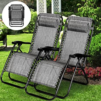 Cool Makeonsale 2 X Folding Deck Chairs Reclining Chairs Zero Gravity Recliner Chair Outdoor Beach Patio Garden Pool Dailytribune Chair Design For Home Dailytribuneorg