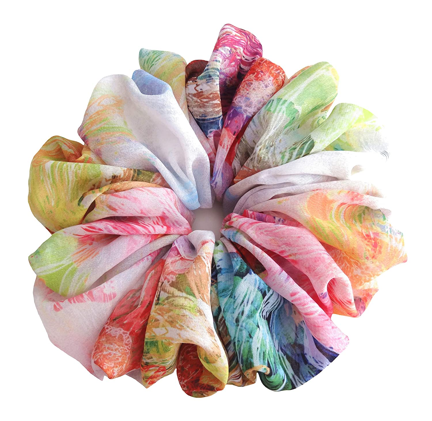 Multicolor Tropical Fancy Scrunchies Large Big Soft Chiffon Stylish Accessories Hair Band Ponytail Holder Teen Girls Women