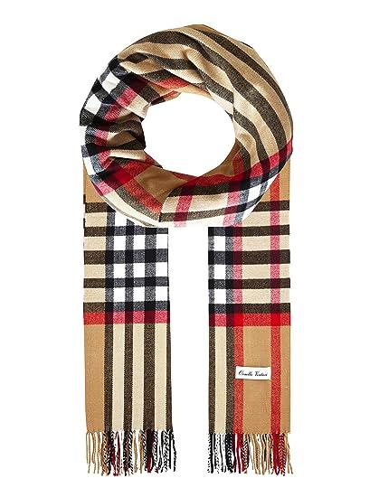 Ornella Venturi Foulard pour femme   homme écharpe à carreaux à carreaux  façon chameau SC2020D e3b6e11c501