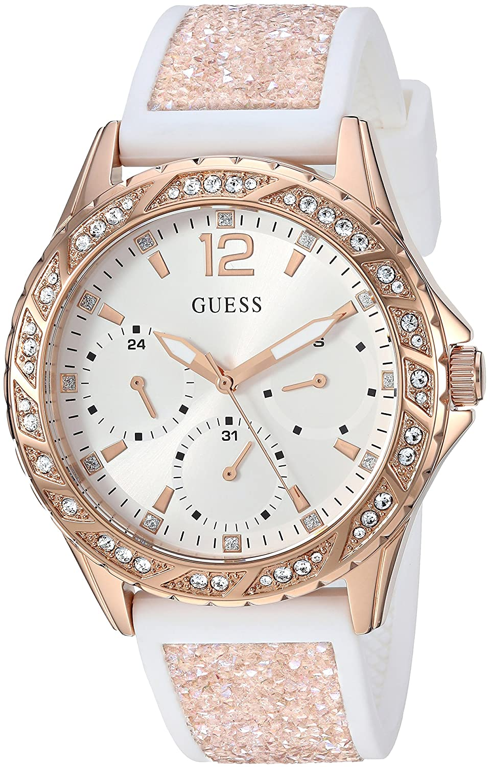 Amazon.com: GUESS Womens Stainless Steel Japanese-Quartz Watch with Crystal Silicone Strap, Color: White/Rose Gold-Tone, 20: ((Model: U1096L2): Watches