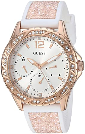GUESS Womens Stainless Steel Japanese-Quartz Watch with Crystal Silicone Strap, Color: White