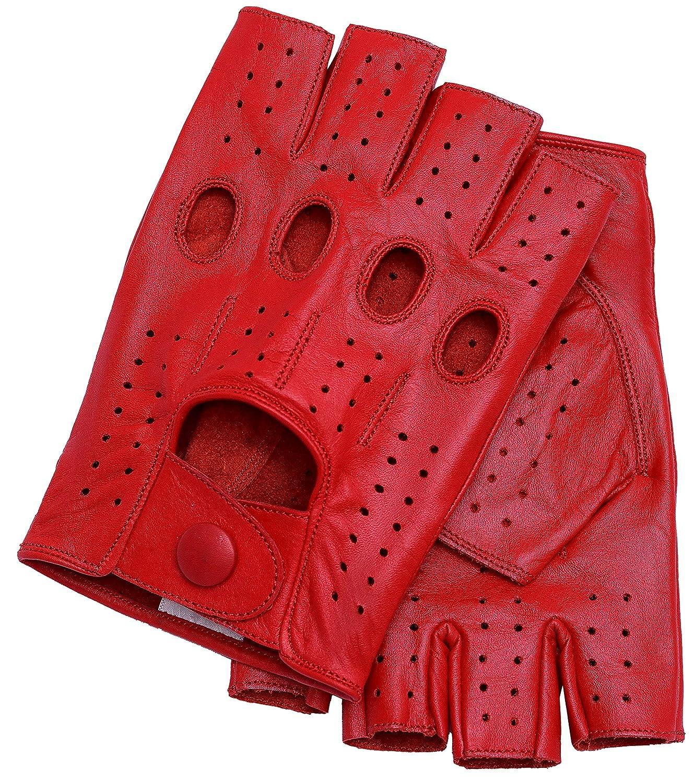 Riparo Guanti da Moto in Pelle sfoderati per Donna 7 Nero Rosso