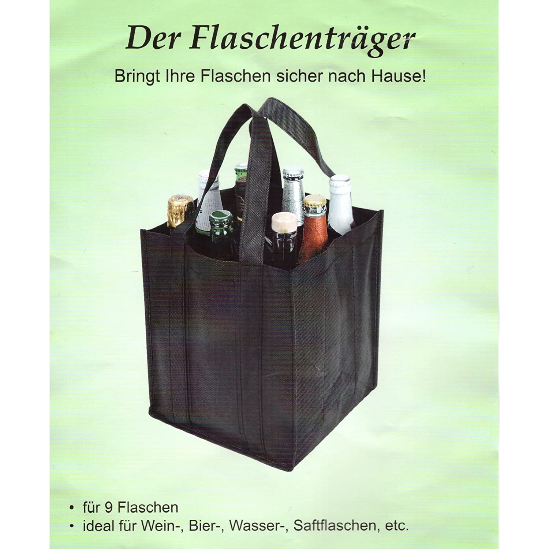 Flaschentr/äger f/ür 9 Flaschen Tragetasche Bottlebag Flaschentasche Stoff schwarz