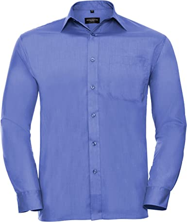 Russell Collection - Camisa de Manga Larga de popelina Cuidado Facil Modelo Poplin Hombre Caballero - Trabajo/Boda/Fiesta