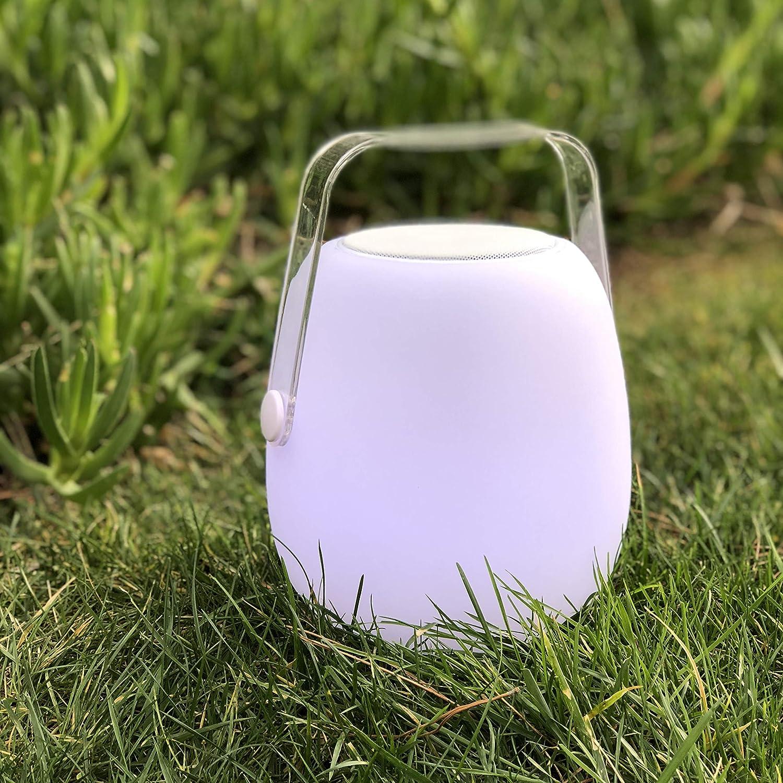 bianco e trasparente a batteria 25 cm con altoparlante Bluetooth 18 x 18 x 25 cm polietilene rotomulato Lumisky mini So Play a LED RGB Lanterna multicolore da giardino senza fili
