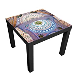 Bilderwelten Design Table - Blue Mosque In Istanbul - Table 55x55x45cm coffee table side end table, Table Colour: Table Black, Dimensions: 55 x 55 x 45cm