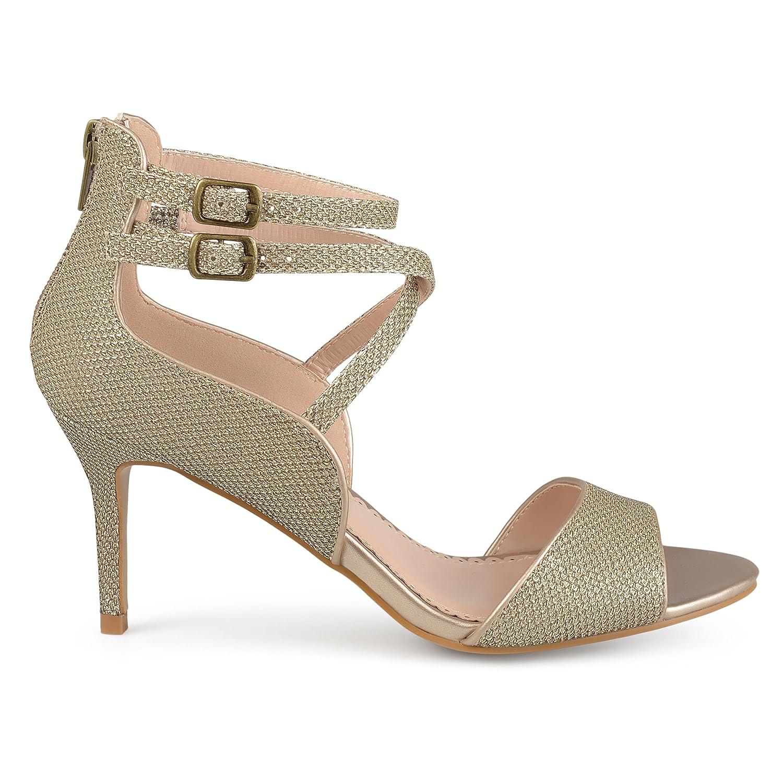 f219bac77d9b Womens Open-Toe Glitter Strappy Heels