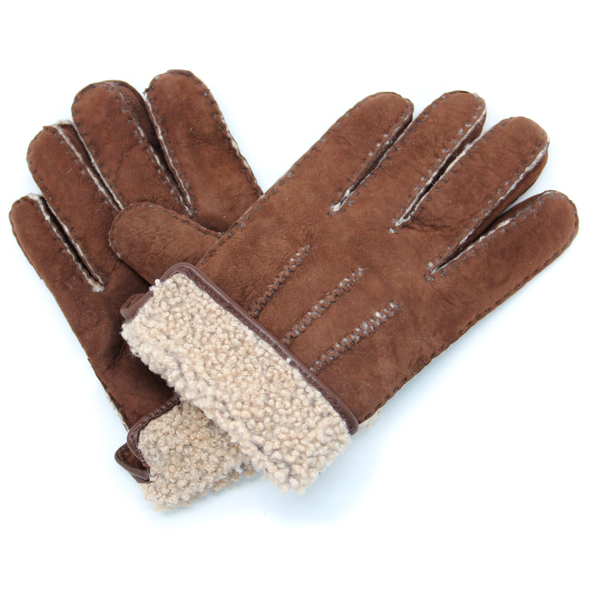 YISEVEN Men's Curly Shearling Leather Gloves Luxury New Zealand Lambskin Handmade Curry Hair Fur Furry Lined Warm Heated Lining Cuffs for Winter Cold Weather Dress Driving Work Xmas Gifts, Brown M