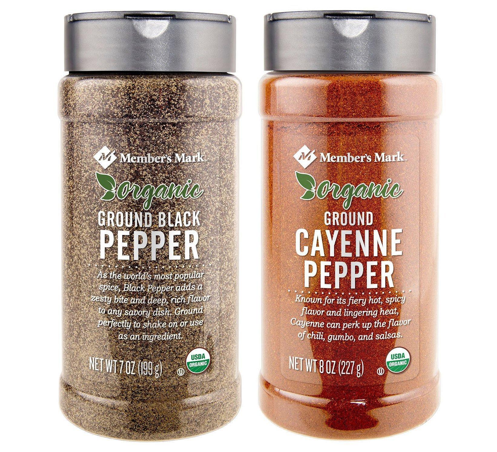Organic Ground Black Pepper (7 oz.) and Organic Ground Cayenne Pepper (8 oz.) Bundle