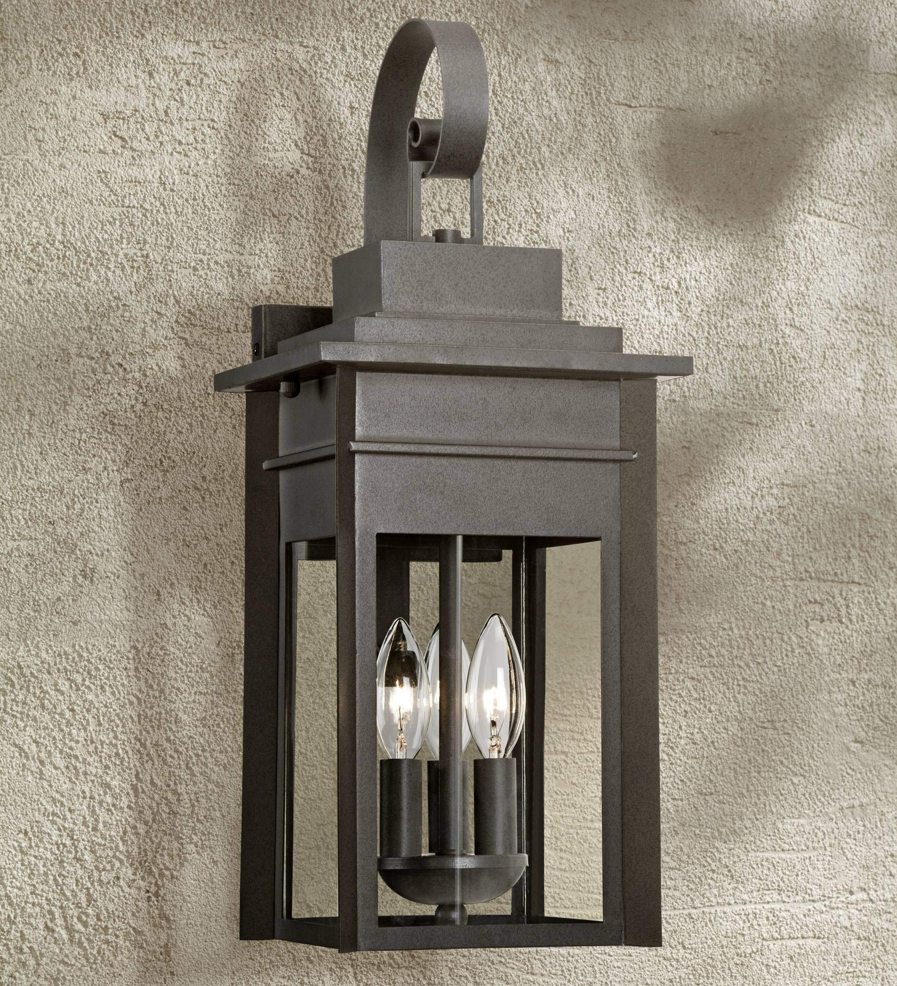 Bransford Traditional Outdoor Wall Light Fixture Black Specked Gray Curved Arm 19'' Lantern Clear Glass for Exterior House Porch Patio Deck - Franklin Iron Works