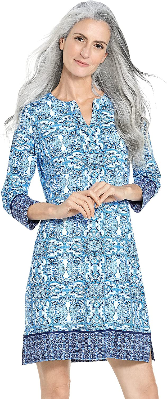Sun Protective Coolibar UPF 50 Medium- Empire Blue Boardwalk Medallion Womens Oceanside Tunic Dress