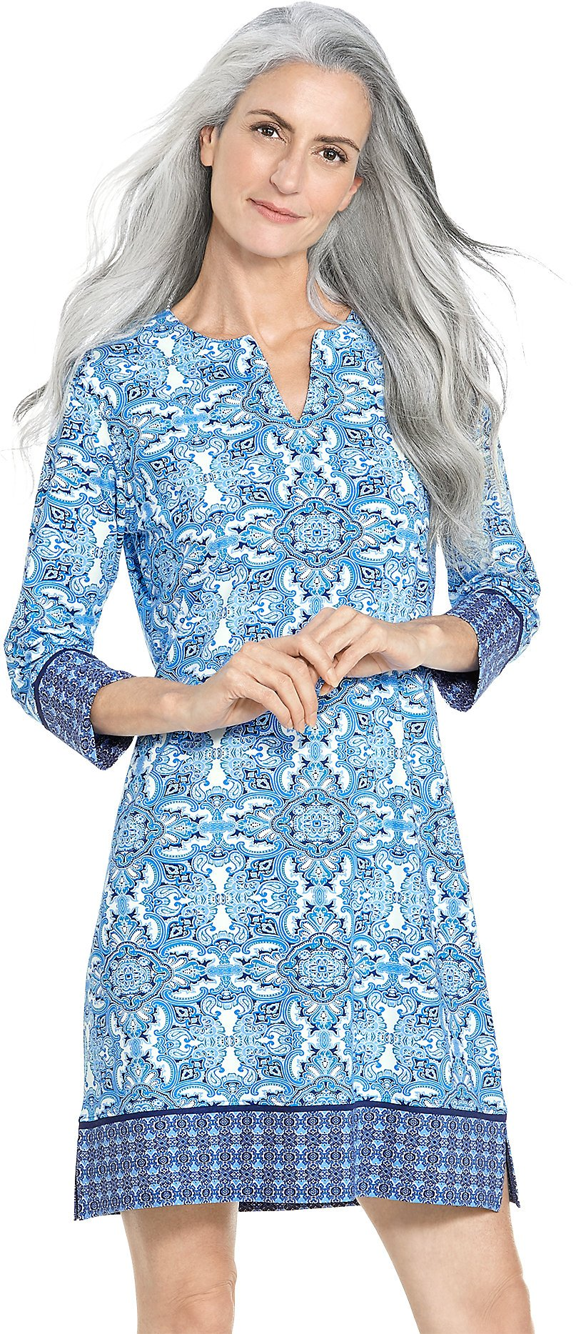 Coolibar UPF 50+ Women's Oceanside Tunic Dress - Sun Protective (2X- Brilliant Blue Midsummer Medallion)
