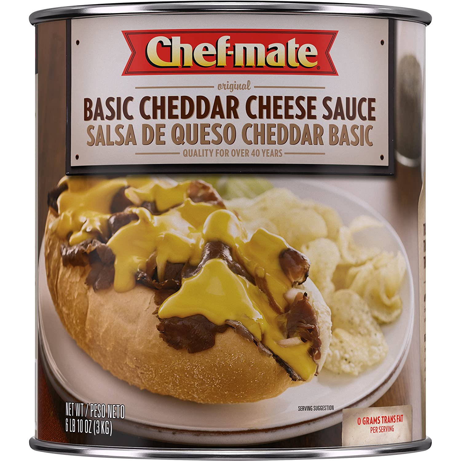 Amazon.com: Chef-mate Original Basic Cheddar Cheese Sauce, Great for Macaroni and Cheese, 6 lb 10 oz, 10 Can Bulk: Prime Pantry