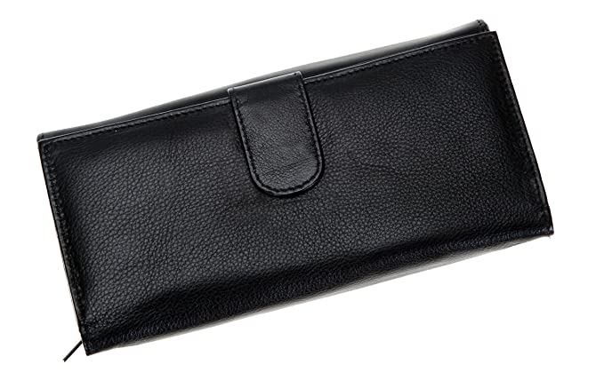 39c55dfa74dba ELEGANCE MAXI Damen Ledergeldbörse Damenbörse Börse Geldbeutel Leder    BLACK (Schwarz)