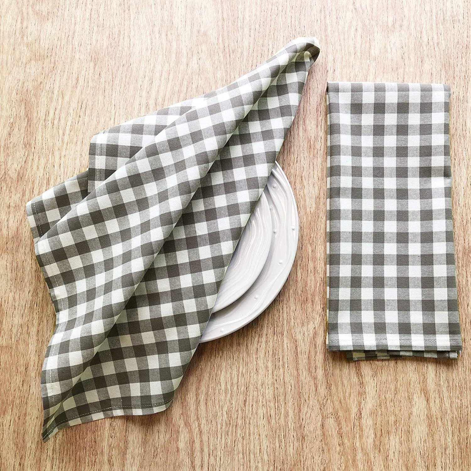 CAIT CHAPMAN HOME COLLECTION Simple Pure Cotton Soft and Absorbent Fabric Woven Dish Towels/Tea Towels, Pack of 2 (Gray Plaid)