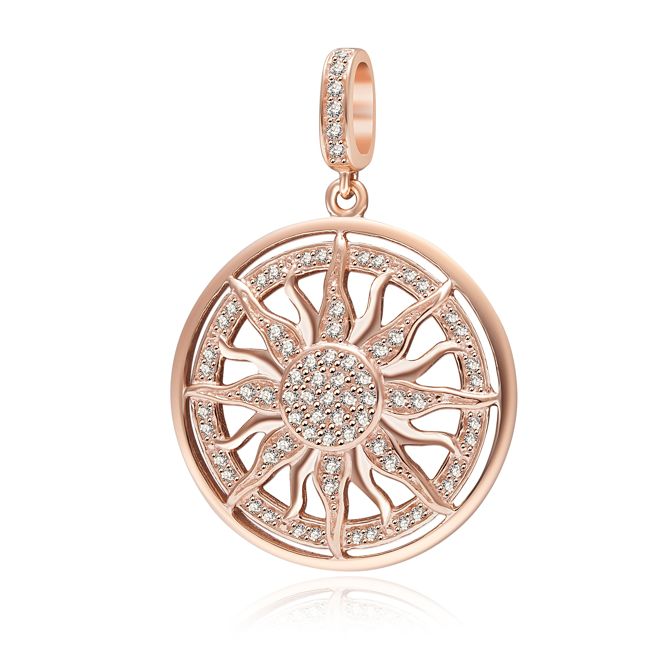Rose Gold Sun Charms 925 Sterling Silver Dangle Charms with Clear CZ for 3mm Snake Chain Bracelet by Paiyuan charms (Image #1)