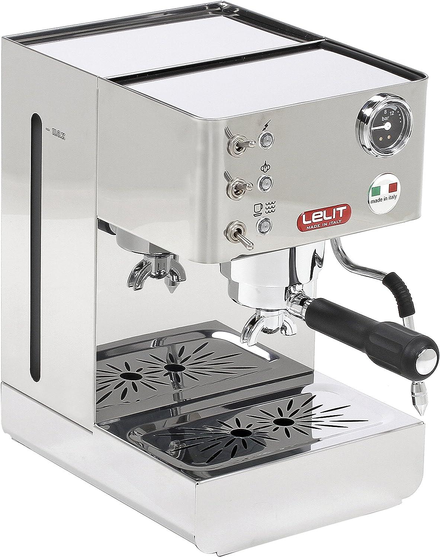 Lelit PL41LEM Anna, Máquina de Espresso Semiprofesional – Manómetro Retroiluminado - Ideal Para el Expreso, el Capuchino y las Cápsulas de Papel, 1000 W, 2 litros, Acero Inoxidable, plateado