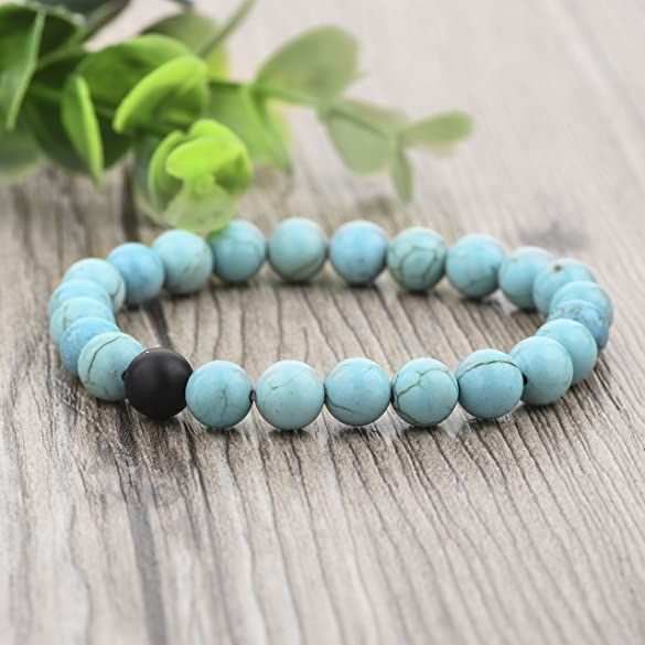 Amazon.com: Long Way His And Hers Bracelets Black Matte Agate ...