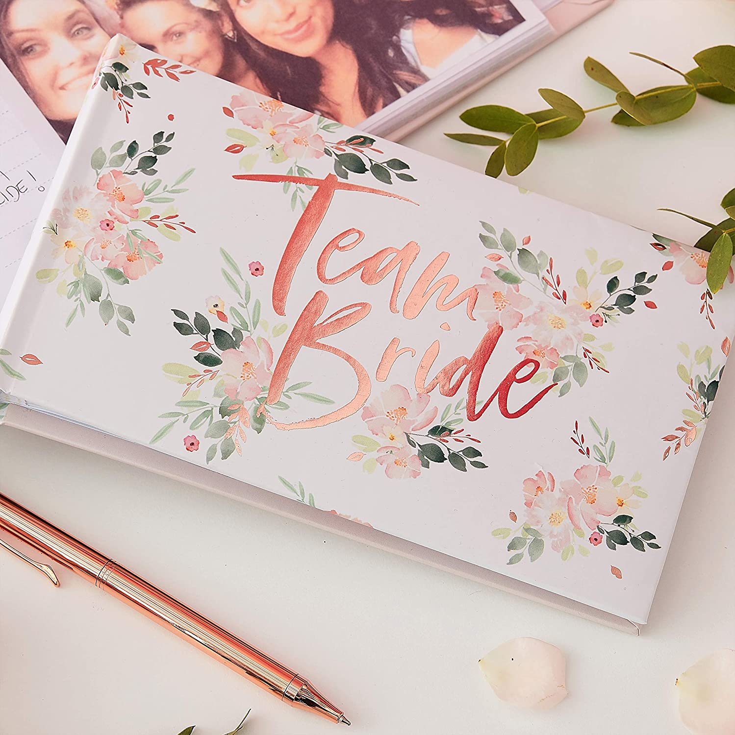 Ginger Ray Floral Bachelorette Party Rose Gold Foiled Photo Album 50 Photos