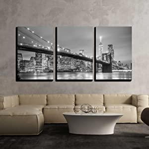 wall26 - York City Downtown Skyline - Canvas Art Wall Decor-16 x24 x3 Panels