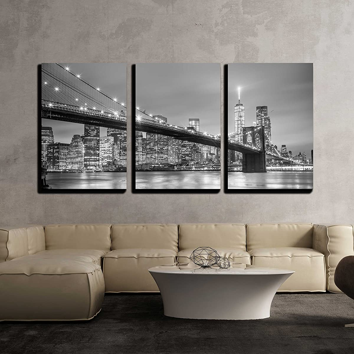 wall26 - York City Downtown Skyline - Canvas Art Wall Decor-16 x24 x3 Panels