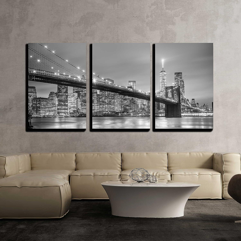 New York City Downtown Skyline Wall Decor X3 Panels Canvas Art