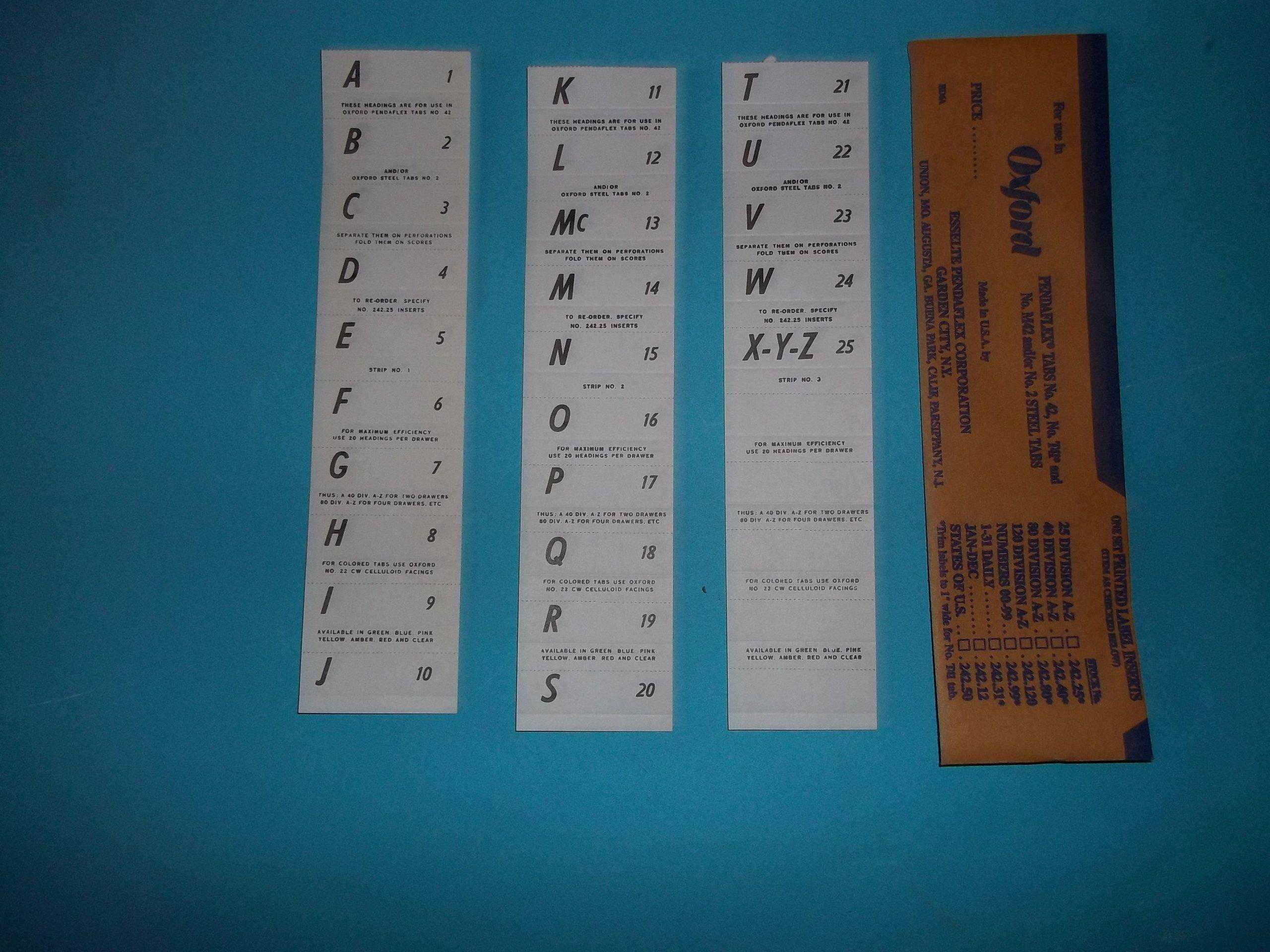 Oxford Pendaflex No 242 Label Inserts (Tab Inserts) Printed Sets A-Z 1-25 2'' x 9/16''