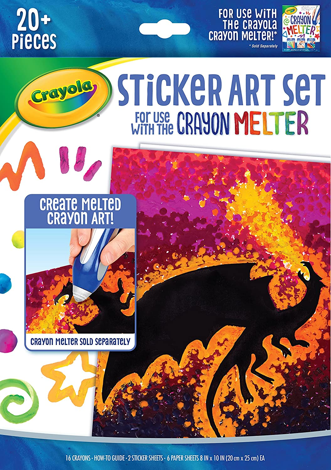 Crayola Silhouette Art Sticker Kit, Crayon Melter Expansion, Gift for Kids, 8, 9, 10, 11 Binney & Smith 04-0389