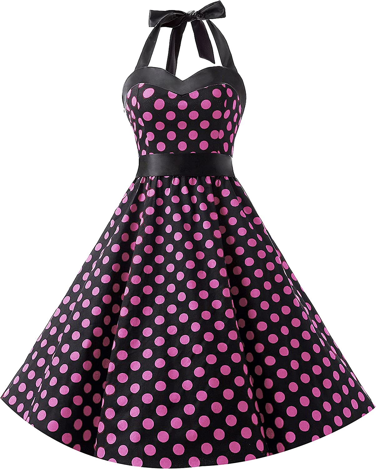 TALLA M. DRESSTELLS® Halter 50s Rockabilly Polka Dots Audrey Dress Retro Cocktail Dress Black Pink Dot M