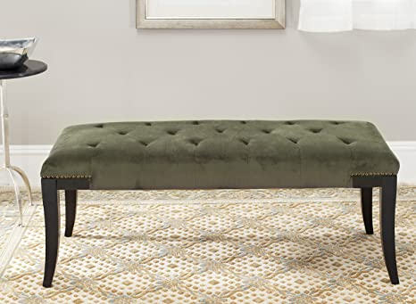 Safavieh Mercer Collection Victor Charcoal Tufted Nailhead Bench