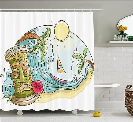 Tiki Bar Decor Shower Curtain By Ambesonne, Circular Frame With Tropical  Accents Cartoon Beach Tiki