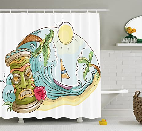 Tiki Bar Shower Curtain By Ambesonne, Circular Frame With Tropical Accents  Cartoon Beach Tiki Statue