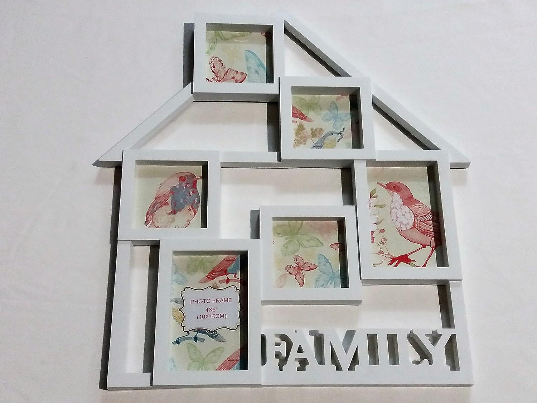 Amazon.de: Fotorahmen Bilderrahmen Collage 40x50 cm Family Haus weiß ...