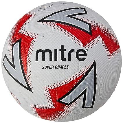 Mitre Super Dimple Balón de fútbol, Unisex Adulto, Blanco y Rojo ...