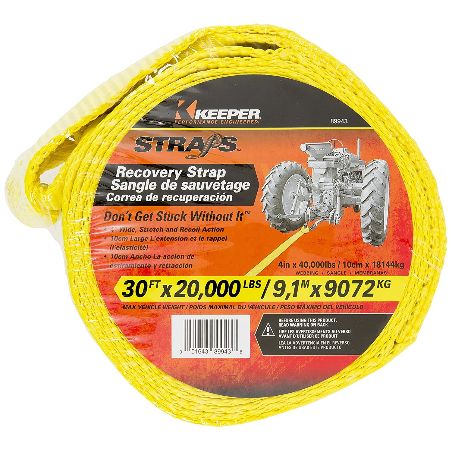 Max Vehicle Weight Keeper 89943 30 x 4 Vehicle Recovery Strap 20,000 lbs